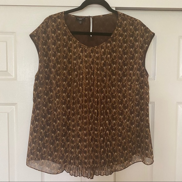 Talbots Brown Cap Sleeve Blouse Size 14W